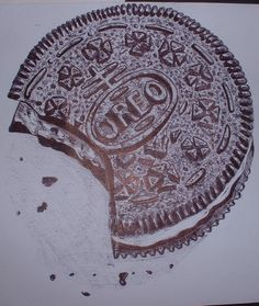 this is an oreo which i did in a black biro pen for my art project oreo Biro Art, Biro Drawing, Observational Drawing, Candy Drawing, Food Drawing, Gcse Art Sketchbook, Different Kinds Of Art, Ap Studio Art, Art Folder