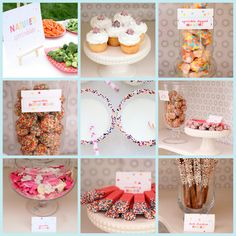 """sprinkled with love"" party: menu included- sprinkle dipped strawberry wafers, dark chocolate and white chocolate sprinkle dipped pretzels, sprinkled donut holes, vanilla cupcakes with sprinkled toppers, sprinkle animal cookies, and sprinkle dipped marshmallows."