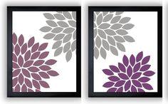 Flower Print Grey Gray Purple Plum by CustomArtPrints on Etsy, $2.40