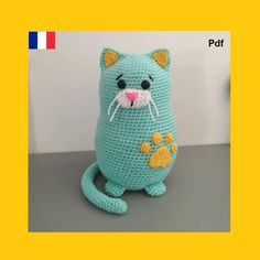 Chat Crochet, Crochet Amigurumi, Cat Pattern, Dinosaur Stuffed Animal, Pdf, Toys, Cat Games, Cat Paws, Magic Circle