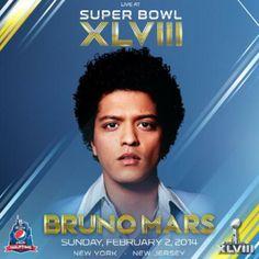 L'affiche du show de la mi-temps du 48ème Super-Bowl. Cette année c'est Bruno Mars qui succèdera à Beyoncé.