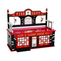 Fire Fighter Fire Man House Wooden Bench Seat with Storage Kids Play Furniture Red & Black Kids Storage Bench, Storage Bench Seating, Craft Storage, Kitchen Storage, Storage Chest, Firefighter Toys, Fire Truck Craft, Just Kids, Truck Crafts