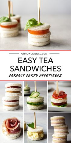Perfect for party appetizers and tea parties, these easy tea sandwiches will be a hit! Perfect for party appetizers and tea parties, these easy tea sandwiches will be a hit! Snacks Für Party, Party Finger Foods, Appetizers For Party, Lunch Party Foods, Easy Food For Party, Tea Party For Kids, Lunch Party Ideas, Cold Party Food, Party Food Ideas
