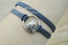 Cute birds BraceletSilver Charm Braceletnavy by HandmadeTribe, $2.50 Fashion handmade leather jewelry