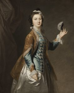 Painting generally known as A GIRL WITH A MASK but may represent the wife of the actor David Garrick -- Polesden Lacey.