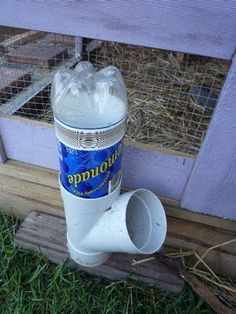 DIY PVC Soda Bottle Chicken Waterer - Super simple project only 3 materials required... #chickens #diy #homesteading