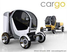 CarGo is a single-seater vehicle optimized for urban deliveries. It was designed by Coventry graduate Adam Schacter. Gem Electric Car, Electric Cargo Bike, Electric Tricycle, Electric Van, Mobiles, Vespa Bike, Mercedes Truck, Microcar, City Car