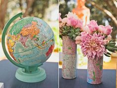 travel themed decor: use maps to wrap vases...you can use the globes as centerpieces and even as a guestbook...pretty nifty!