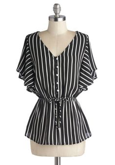 Afternoon of Entertaining Top - Chiffon, Woven, Black, Stripes, Buttons, Belted, 70s, Short Sleeves, Good, V Neck, White, Work, Vintage Insp...