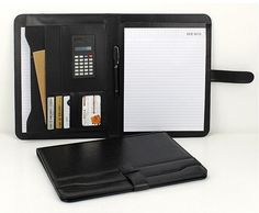 A4 Black Conference Folder Zipped PU Leather Portfolio Organiser with Calculator #UnbrandedGeneric