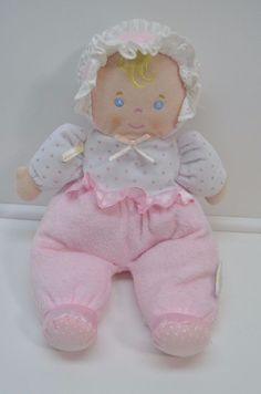 Eden Pink  White Terry Cloth Baby Doll Stripe Bonnet Polka Dot Rattle Crinkle #Eden