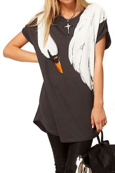 ROMWE | ROMWE Swan Print Loose T-shirt, The Latest Street Fashion