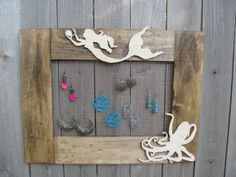 Earring Organizer Frame A Mermaid and Her by CheralynsWoodworks, $125.00