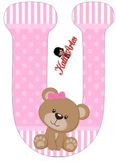 Oh my Alfabetos!: Alfabeto de tierna osita con fondo rosa. Scrapbook Bebe, Baby Shawer, Bear Party, Bear Pictures, Scrapbooking, Paper Flower Backdrop, Alphabet And Numbers, Alphabet Fonts, Lettering Design