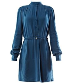Tunisia Dress by Diane Von Furstenberg. Blue dress has a small round neck, side pockets and long sleeves with buttoned cuffs. The straight cut dress has a buttoned centre-front fastening and an elasticated belt to cinch in the waist. #Matchesfashion