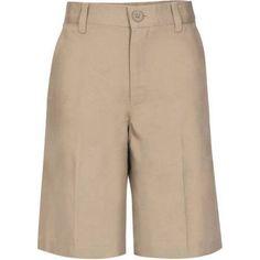 Real School Boys Flat Front Shorts School Uniform Approved, Boy's, Size: 6, Beige