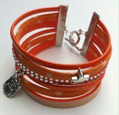 Bracelet manchette orangé : Bracelet par by-suri