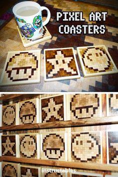 Woodworking Program Make fun pixel art wooden coasters with your favorite 8 bit gaming designs! Woodworking Books, Woodworking As A Hobby, Woodworking Workshop, Woodworking Projects, Teds Woodworking, Woodworking Classes, Woodworking Videos, Woodworking Furniture, Pixel Art