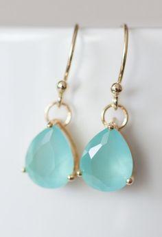 Mint glass drop earrings