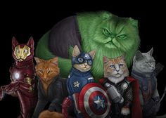 Cat Supurrheroes Jenny Parks, the California based artist has transformed pop culture icons into cat versions and even given them superhero names: Hullkitty, Iron Cat, Captain Catmerica, etc.