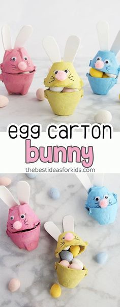 This egg carton bunny craft is so cute! Fill them with easter candy or mini eggs. An egg carton easter craft perfect for kids to make! #easter #eastercraft #bunny #craftforkids via @bestideaskids