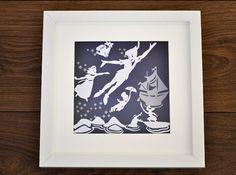 Peter Pan  Wendy, Beautiful framed original by PrettyPaperPetal