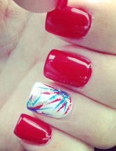 Red, White and Blue nails! of July nails! Fancy Nails, Love Nails, Pretty Nails, My Nails, Pink Nails, Nails 2017, Girls Nails, Patriotic Nails, Nails Polish