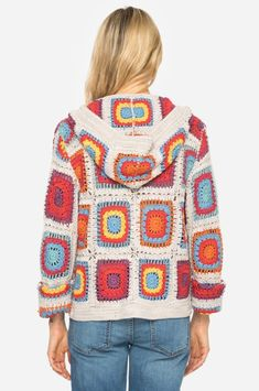 New Free of Charge Crochet cardigan multicolor Popular Johnny Was Yvonne Crochet Hooded Cardigan Multicolor Sweater – Tradesy Crochet Bolero, Crochet Coat, Crochet Jacket, Crochet Cardigan, Crochet Clothes, Diy Clothes, Knitted Hat, Crochet Squares, Crochet Granny