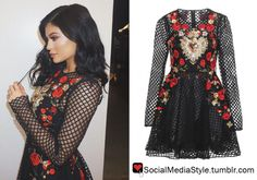 Buy Kylie Jenner's Dolce & Gabbana Rose and Sacred Heart Embroidered Net Dress, here!