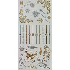GRASHINE Golden and silver Metallic fake and realistic temporary tattoos Jewelry design, feathers, butterflies, flowers and leafs * Click on the image for additional details. (This is an affiliate link and I receive a commission for the sales) #TemporaryTattoos