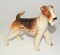 "Vintage Large Wire Fox Terrier Dog Porcelain Figurine 6"" Tall"