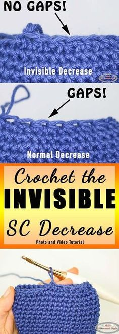 Learn the secret to crocheting the INVISIBLE Single Crochet Decrease! You will never see gaps again! # single crochet decrease tutorials How crochet the Invisible Single Crochet Decrease - Photo and Video Tutorial Crochet Diy, Crochet Unique, Beau Crochet, Crochet Simple, Crochet Amigurumi, Tunisian Crochet, Crochet Basics, Love Crochet, Beautiful Crochet