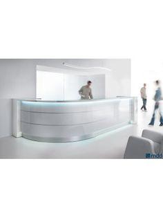 VALDE Curved Reception Desk, High Gloss White