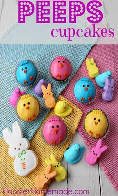 Peeps Cupcakes | Hoosier Homemade Peeps make the perfect, colorful ingredient for desserts. I can't wait to bite into this marshmellowy bliss!