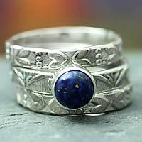 Lapis lazuli stacking rings, 'Love Foretold' (set of 3) by NOVICA