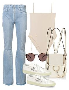 """Sin título #3316"" by camilae97 ❤ liked on Polyvore featuring Off-White, Chloé, Yves Saint Laurent, Oliver Peoples and Lana Jewelry"