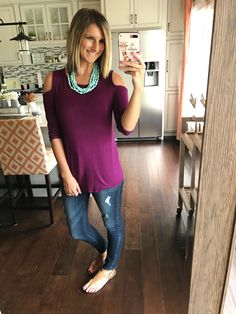 Cold shoulder top under $40! A simple yet fun spring look! Click on the photo for all links to shop!