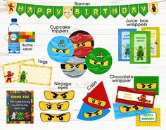 Ninjago party supplies Ninjago banner Ninjago party favors