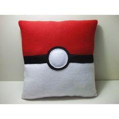 Pokemon Pokeball Fleece Pillow ($20) found on Polyvore