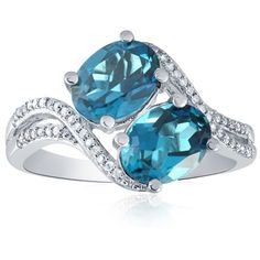 Belk & Co.  London Blue Topaz Bypass Ring In Sterling Silver ($113) ❤ liked on Polyvore featuring jewelry, rings, blue, blue jewelry, blue ring, enhancer ring, blue jewellery and london blue topaz jewelry
