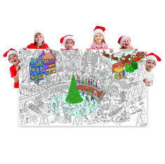 """Just Out! NEW Gigantic 36"""" x 60"""" Merry Christmas Village Coloring Poster. Available for a limited time!"""