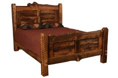 Our Weathered Timber collection features handmade rustic furniture from reclaimed woods taken from old barns, buildings and fences in the Rocky Mountain Region. This bed offers more character than the original Weathered Timber Bed in the headboard and footboard while still bringing out the natural rugged look in the wood. #rustic #rusticbedroom #rusticfurniture