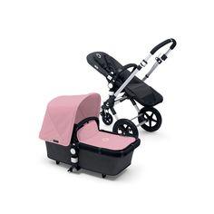 Poussette combiné duo cameleon3 châssis alu base noir avec capote et tablier rose pâle Bugaboo