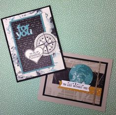 Masculine cards made with Stampin' Up!'s Going Global stamp set, World Traveler Textured Impressions embossing folder, and Going Places designer series paper stack, by Linda Madison.