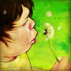 #portrait #painting of my son with a dandelion. Bright and fun custom portraits are my thing. #art Get one here: http://www.storenvy.com/stores/59841-kat-can-paint