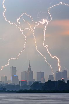 Lightning over Warsaw Poland
