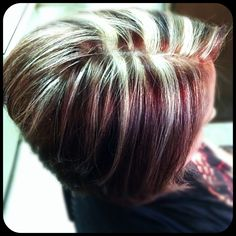 Red brown and blonde hair color a- line hair cut