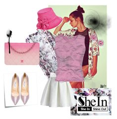 """""""Floral Kimono SHEIN CONTEST"""" by azra-2709 ❤ liked on Polyvore featuring Post-It, Chicwish, Blumarine, Jimmy Choo, Chanel, Kobelli and Kate Spade"""