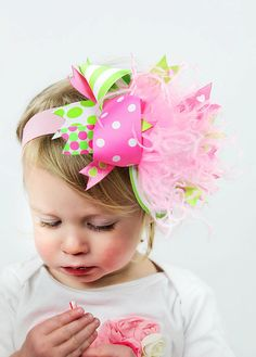 boutique PINK and GREEN over the top bow on a headband by andjane, $16.99