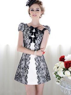 Modern Black Scoop Neck Bow Lace Shift Dress For Woman Baby Blue Dresses, Light Blue Dresses, Blue Wedding Dresses, Vintage Dresses, Nice Dresses, Casual Dresses, Fashion Dresses, Dress With Bow, Lace Dress
